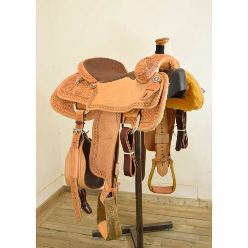 Western Natural  Leather Roper Ranch Hand Tooled  Saddle   15 16 17 18