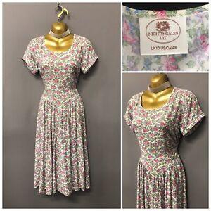 Vintage-Nightingales-White-Floral-Pleated-Retro-Dress-UK-10-EUR-38-US-8