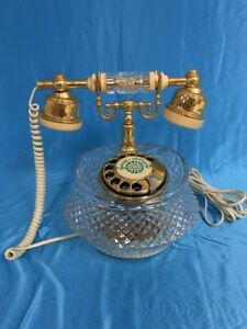 Vintage Galway Irish Crystal Telephone W Gold Tone Accents Ebay