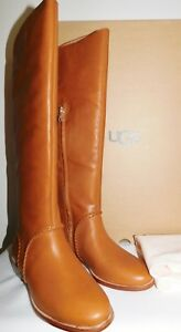 638e2f3df96 Details about NEW WOMENS SZ 10 MID BROWN UGG 1019086 GRACEN WHIPSTITCH TALL  LEATHER BOOTS $325