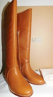 f9dcf50d198 NEW WOMENS 8.5 MID BROWN UGG 1019086 GRACEN WHIPSTITCH TALL LEATHER BOOTS  $325   eBay