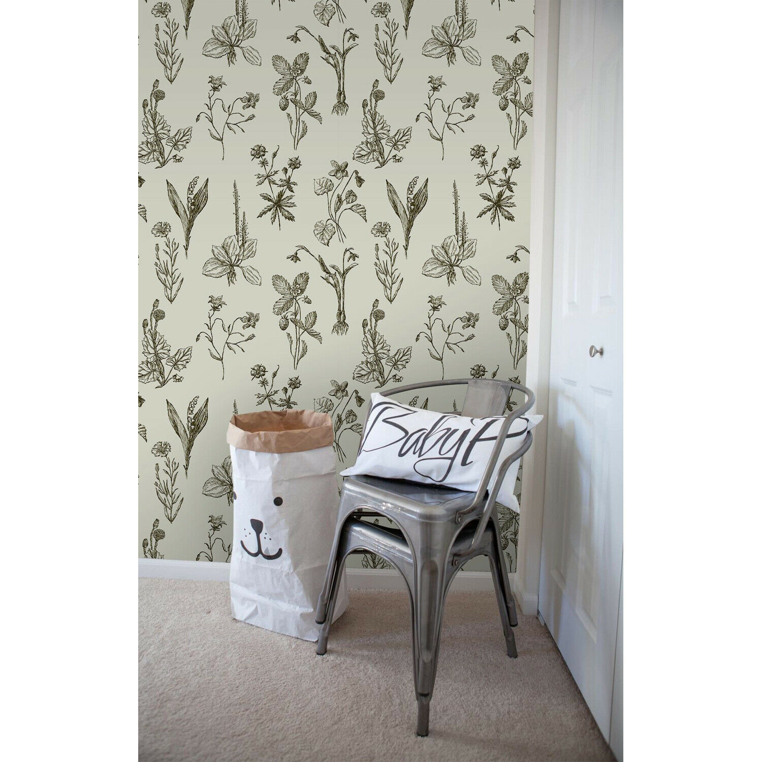 Sketches wildflowers Removable wallpaper Golden wall mural wall art