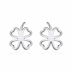 a23c99d7a 925 Silver Plt Hollow Four Leaf Clover Stud Earrings Luck St ...
