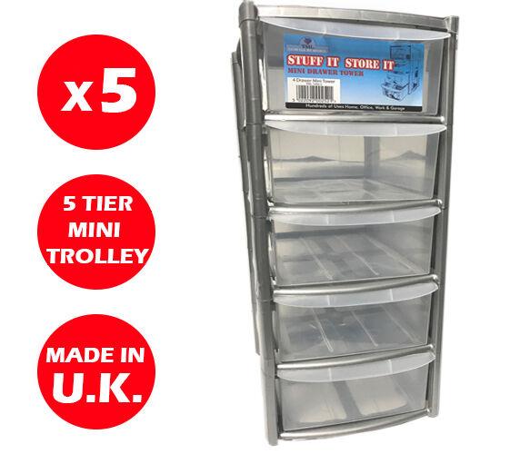 5 x 5 Cassetto Unità a torre d'argento-CASSETTI IN PLASTICA-Storage Organizer-Mini piccoli
