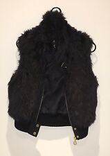 Women Girls Black With Golden Buckle Vest No Sleeve syntactic Fur Size S