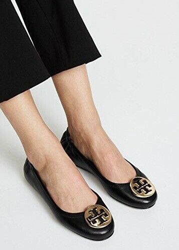 c467cc455 Tory Burch Minnie Travel Ballet Flats 639 Black With Logo 9.5 US for sale  online   eBay