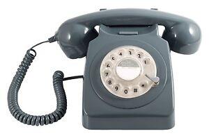 GPO-746-Telephone-Retro-Vintage-Style-Desk-Phone-Working-Rotary-Dial-Grey