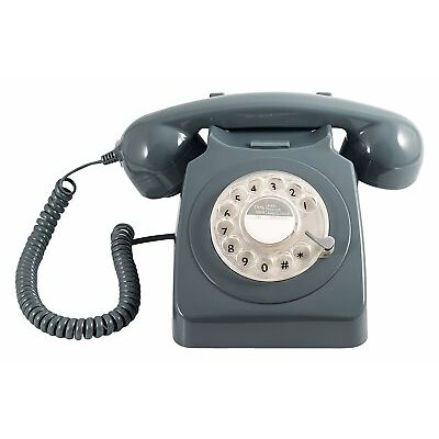 GPO 746 Telephone - Retro Vintage Style Desk Phone - Working Rotary Dial - Grey