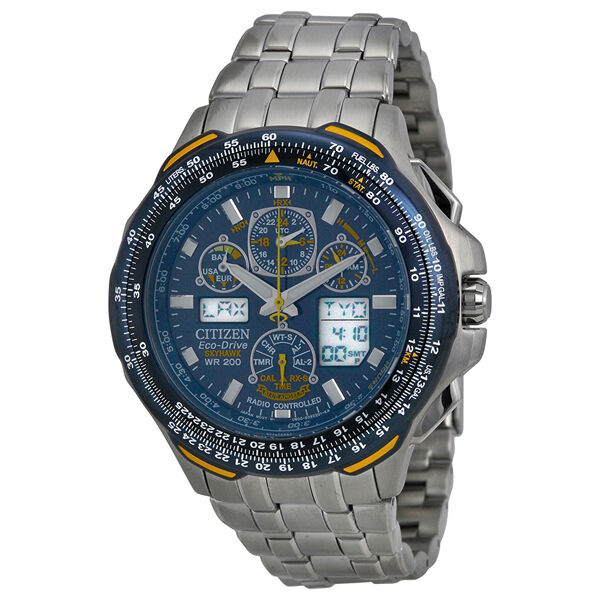 Citizen JY0040-59L Eco-Drive Blue Angels Skyhawk Stainless Steel Mens Watch