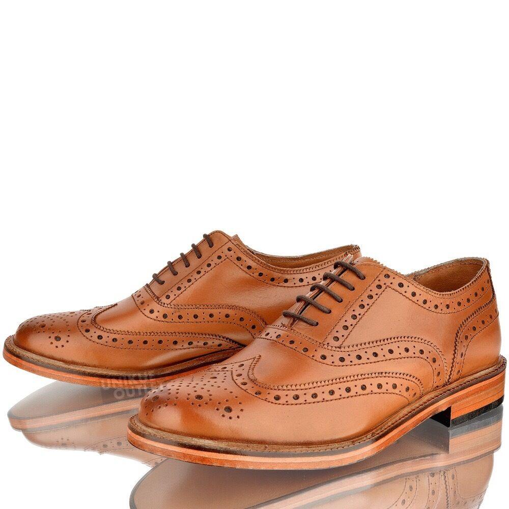 Uomo Abito Leather WEDDING SMART Brogue Abito Uomo Formale Ufficio Lacci Tan Scarpe Taglia 184740