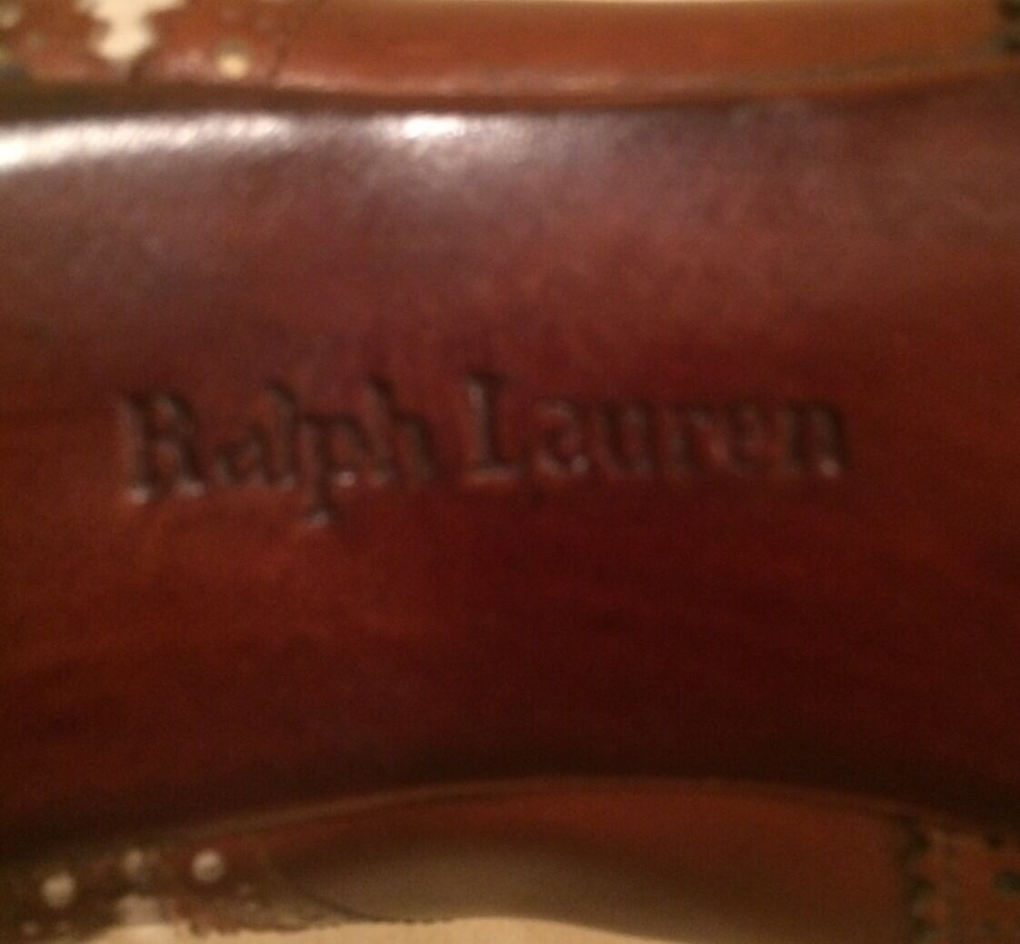 RALPH LAUREN Collection braun Ivory Ivory Ivory Leather WingTip Lace-Up Stiefel 8.5M ITALY RARE 2c5502