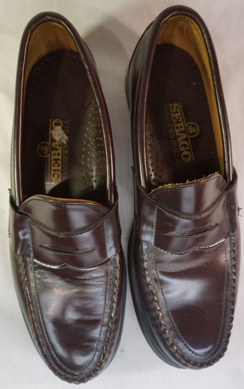 Handsewn Leather Sebago Cayman 90-733 Size 11.5 A Brown Loafers
