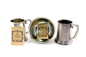 2-Vintage-Stieff-Pewter-Glass-Bottom-Tankards-with-Pewter-Paul-Revere-Bowl