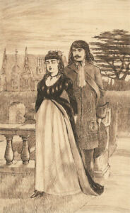 Charles William Cole - Late 19th Century Pen and Ink Drawing, Gothic Couple