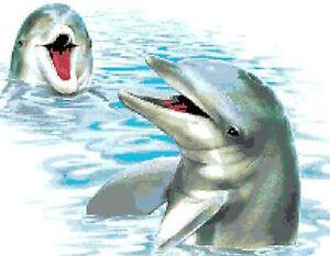 Schema Schemi Punto Croce Ricamo Quadro Delfini Delfino Ebay
