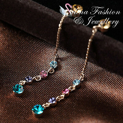 18K Rose Gold GP Made With Swarovski Crystal Colorful Slim Round Drop Earrings