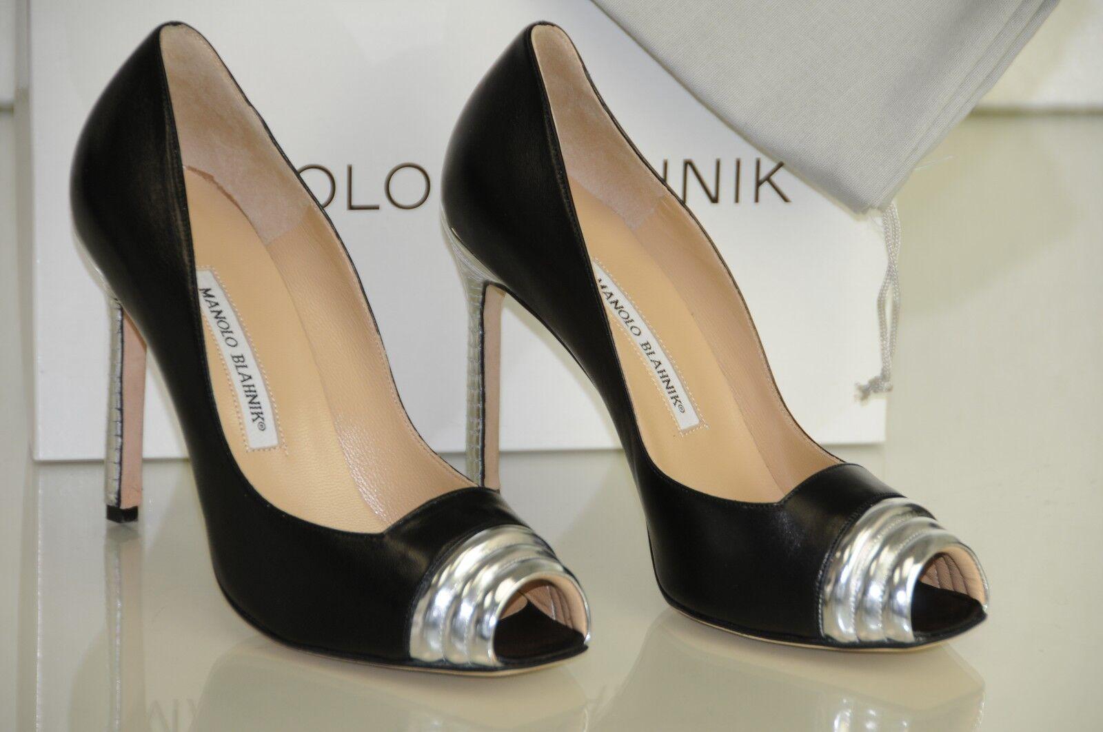 Nuevo Manolo Blahnik Toldamod Toldamod Toldamod Plata Cuero Negro Zapatos Peep Toe Tacones 40 9.5  la mejor oferta de tienda online