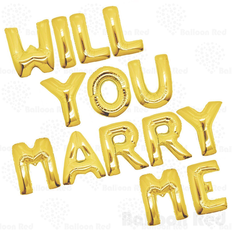 40  allez-vous m'épouser feuille Lettre Ballon Set plat en or (willyoumarryme-or)