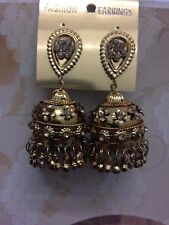 New Indian Bollywood Costume Jewellery Earrings Jumki Jhumka Bronze Gold Vintage