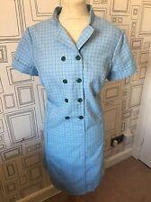 VINTAGE 60'S BLUE CHECK WOOL MOD SCOOTER MINI DRESS UK 16-18 LARGE