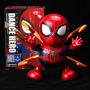 Dance-Hero-Spiderman-w-Iron-Paw-Avengers-Toy-Figure-Dancing-Robot-w-LED-amp-Music