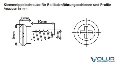 Rollladenführungsschiene Nippelschraube Schraube Klemmnippel Montage