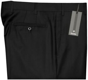 395-NWT-ZANELLA-DEVON-SOLID-BLACK-SUPER-120-039-S-WOOL-MENS-DRESS-PANTS-34