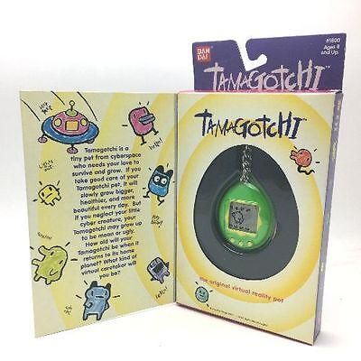 Bandai Original TamaGotchi Bright Green & Yellow  English Keychain Model