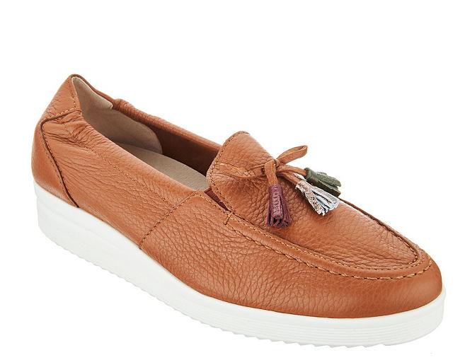 Women's Comfort shoes shoes shoes Vitaform Leather Low Wedge Loafers Chestnut 9 EU 40 41cc10