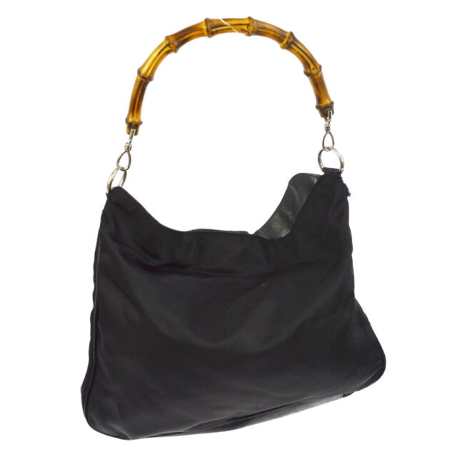 Authentic GUCCI Bamboo Handle Hand Bag Black Nylon Leather Italy Vintage  BT14876 4d6ca0dcc341a