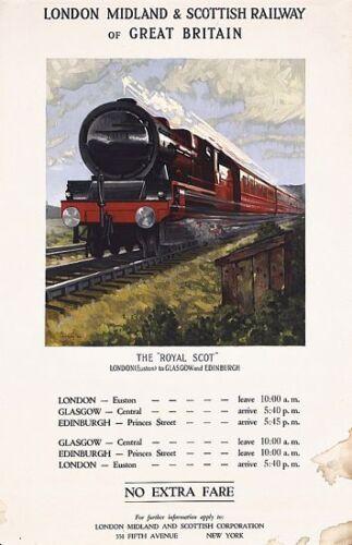 Vintage LMS Royal Scot Railway Poster  A3 Print
