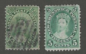 CANADA-18-1859-NEW-BRUNSWICK-8-1860-QUEEN-VICTORIA-USED-CV-118