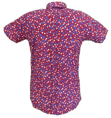 Relco Mens Burgundy Retro Polka Dot Short Sleeved Mod Button Down Shirt