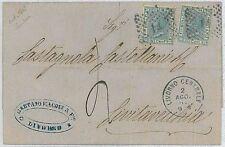 ITALIA REGNO:  Sassone L26 x 2 su LETTERA da LIVORNO - 1867