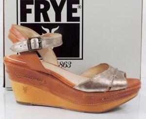 8c5f6ef1c4636 Image is loading Womens-Frye-Carlie-Seam-Slingback-Platform-Wedge-Sandals-