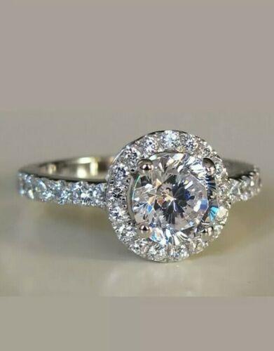 14k white gold over 2 carat halo round cut diamond engagement ring women fine