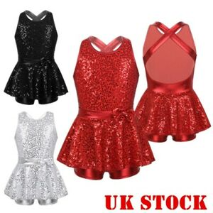 UK-Girls-Jazz-Dance-Dress-Kid-Modern-Ballet-Sequins-Leotard-Mini-Skirt-Dancewear