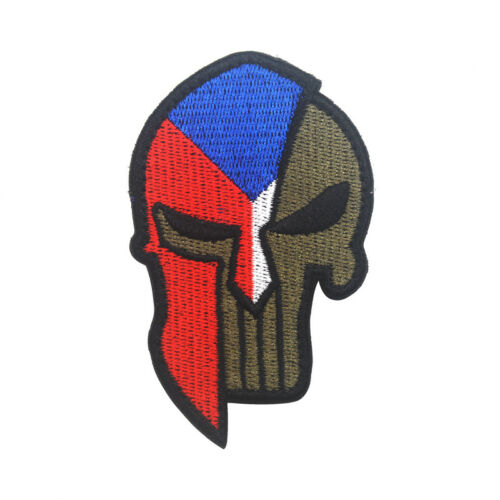 Embroidered Spartan Czechia Czech Republic Flag Tactical Morale Patch Hook Badge