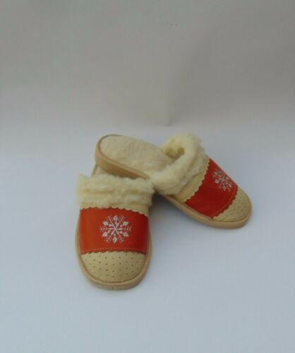 Ladies Real Leather Slippers Warmed*EU HAND MADE PRODUCT*size 3,4,5,6,7,8