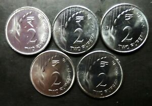 India-2-Rupees-2019-B-new-series-design-lot-of-5-UNC-coins-from-mint-packet