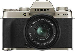 Fujifilm X-T200 Mirrorless Digital Camera w 15-45mm Lens Silver Gold Dark Silver