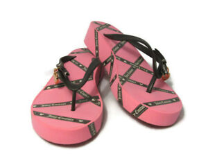 20d8fbdc341 Juicy Couture Pink Women s Flip Flop Thong Wedge Sandals Summer ...