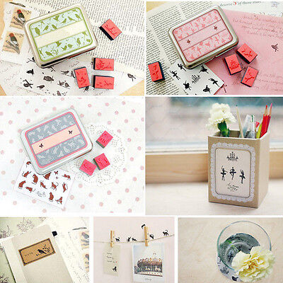 DIY Rubber Stamps Set In Tin Box Case Drawing Art Craft Toy For Kid Child Gift
