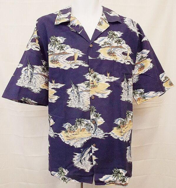 Pacific Legend Hawaiian Shirt Blue Palm Tree Island Boat Tropical Print size 2XL