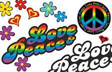 Blumen Aufkleber Hippie Blumen Autoaufkleber Flower Power: Love&Peace 02-Rainbow