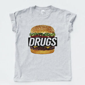DRUGS-BURGER-NEW-TSHIRT-Hype-Hipster-Streetwear-Rap-Wasted-Indie-Mens-Girls