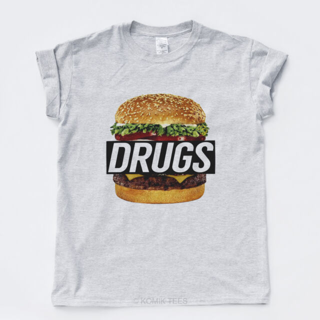DRUGS BURGER NEW TSHIRT Hype Hipster Streetwear Rap Wasted Indie Mens Girls