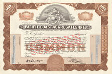 Pacific Coast Aggregates   1928 California stock certificate share