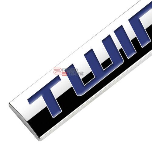 POLISHED BLUE TEXT TWIN TURBO METAL EMBLEM DECAL LOGO TRIM BADGE 3M ADHESIVE