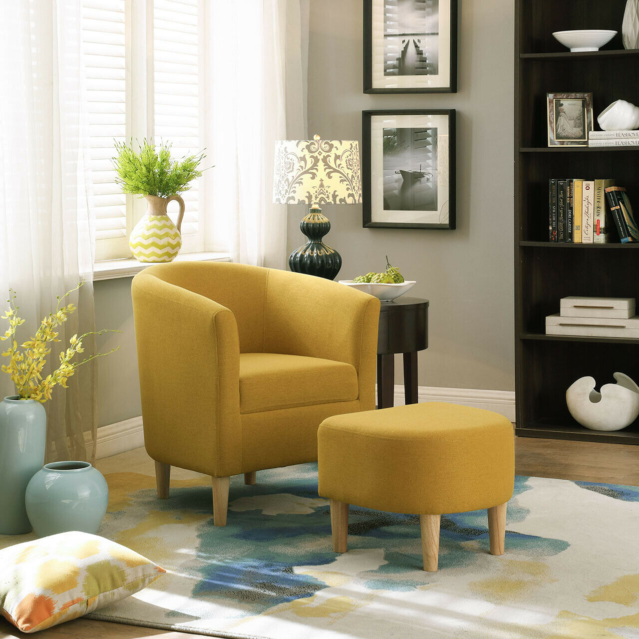 Yellow Accent Chair W/ Ottoman Round Arms Curved Back Upholstered Single Sofa